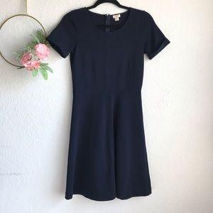 J. Crew Factory Blue Ponte Short Sleeve Dress